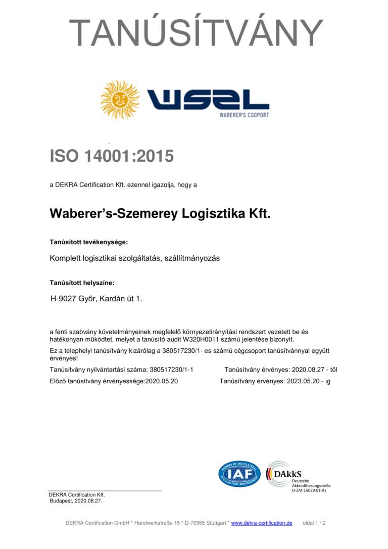 ISO 14001:2015 Telephely