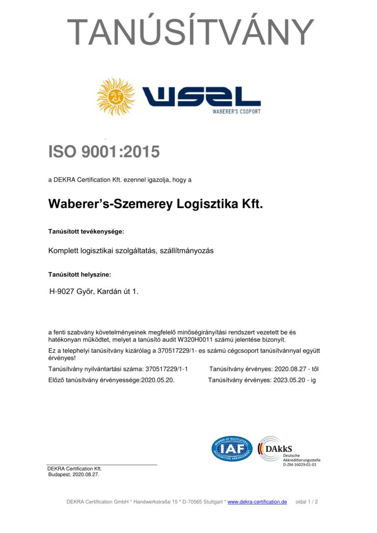 ISO 9001:2015 Telephely